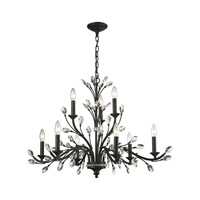 Crystal Branches 9 Light 33 inch Burnt Bronze Chandelier Ceiling Light