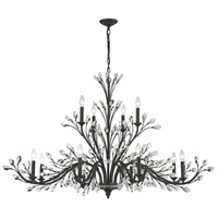 Crystal Branches 12 Light 52 inch Burnt Bronze Chandelier Ceiling Light