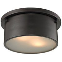 ELK Lighting Simpson 2 Light Flushmount in Oil Rubbed Bronze with Frosted White Glass 11810/2