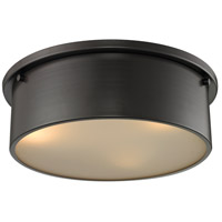 Simpson 3 Light 14 inch Oil Rubbed Bronze Flushmount Ceiling Light