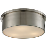 ELK Lighting Simpson 3 Light Flushmount in Brushed Nickel with Frosted White Glass 11821/3