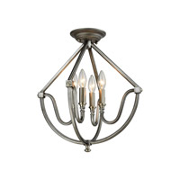 Elk Lighting Stanton 4 Light Semi Flush Mount in Weathered Zinc,Brushed Nickel 11841/4