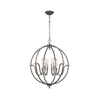 Stanton 6 Light 25 inch Weathered Zinc,Brushed Nickel Chandelier Ceiling Light