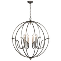ELK 11844/8 Stanton 8 Light 35 inch Brushed Nickel with Weathered Zinc Chandelier Ceiling Light