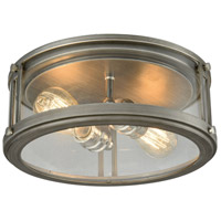 Coby 2 Light 13 inch Polished Nickel with Weathered Zinc Flush Mount Ceiling Light