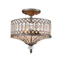 Elk Lighting Paola 3 Light Semi Flush Mount in Weathered Zinc 11885/3