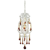 Opulence 1 Light 8 inch Antique White Pendant Ceiling Light in Amber Crystal