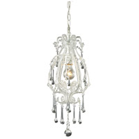 Opulence 1 Light 8 inch Antique White Pendant Ceiling Light in Clear Crystal