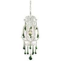 Opulence 1 Light 8 inch Antique White Pendant Ceiling Light in Lime Crystal