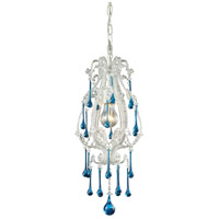 ELK 12003/1AQ Opulence 1 Light 8 inch Antique White Pendant Ceiling Light in Aqua Crystal