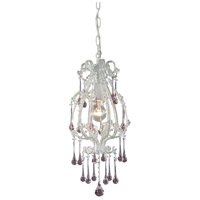ELK 12003/1RS Opulence 1 Light 8 inch Antique White Pendant Ceiling Light in Rose Crystal