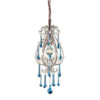Opulence 1 Light 8 inch Rust Pendant Ceiling Light in Aqua Crystal