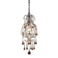 ELK 12013/1AMB Opulence 1 Light 8 inch Rust Pendant Ceiling Light in Amber Crystal