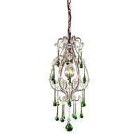 ELK 12013/1LM Opulence 1 Light 8 inch Rust Pendant Ceiling Light in Lime Crystal