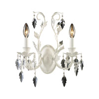 ELK Lighting Crystal Leaf 2 Light Sconce in Antique White 12016/2