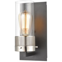 ELK 12140/1 Bergenline 1 Light 6 inch Matte Black with Polished Nickel Vanity Light Wall Light