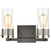 ELK 12141/2 Bergenline 2 Light 13 inch Matte Black with Polished Nickel Vanity Light Wall Light