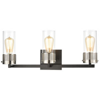 ELK 12142/3 Bergenline 3 Light 23 inch Matte Black with Polished Nickel Vanity Light Wall Light
