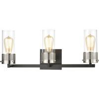 ELK 12142/3 Bergenline 3 Light 23 inch Matte Black with Polished Nickel Vanity Light Wall Light
