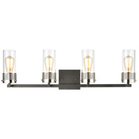 Bergenline 4 Light 32 inch Matte Black with Polished Nickel Vanity Light Wall Light