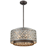Rosslyn 5 Light 17 inch Weathered Zinc and Matte Silver Pendant Ceiling Light