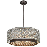 ELK 12164/6 Rosslyn 6 Light 22 inch Weathered Zinc with Matte Silver Pendant Ceiling Light