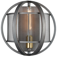 ELK 12170/1 Ellicott 1 Light 12 inch Weathered Zinc with Satin Brass Sconce Wall Light