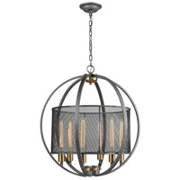 ELK 12171/6 Ellicott 6 Light 24 inch Weathered Zinc with Satin Brass Pendant Ceiling Light