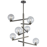 ELK 12183/6 Globes Of Light 6 Light 34 inch Brushed Black Nickel Chandelier Ceiling Light