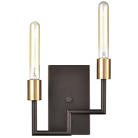 ELK 12200/2 Congruency 2 Light 9 inch Oil Rubbed Bronze with Satin Brass ADA Sconce Wall Light