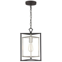 ELK 12234/1 Salinger 1 Light 10 inch Charcoal with Satin Nickel Mini Pendant Ceiling Light