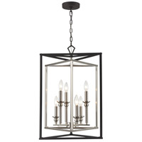 ELK 12236/6 Salinger 6 Light 19 inch Charcoal with Satin Nickel Pendant Ceiling Light