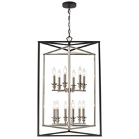 ELK 12237/6+6 Salinger 12 Light 24 inch Charcoal with Satin Nickel Pendant Ceiling Light