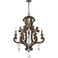 ELK 12256/6 San Sebastian 28 inch Spanish Antiquewood/Dark Bronze Chandelier Ceiling Light