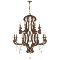 ELK 12258/16 San Sebastian 40 inch Spanish Antiquewood/Dark Bronze Chandelier Ceiling Light
