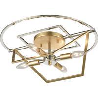 ELK 12261/4 Geosphere 18 inch Polished Nickel/Parisian Gold Leaf Semi Flush Mount Ceiling Light