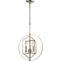 ELK 12262/3 Geosphere 15 inch Polished Nickel/Parisian Gold Leaf Chandelier Ceiling Light