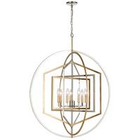 ELK 12264/7 Geosphere 36 inch Polished Nickel/Parisian Gold Leaf Chandelier Ceiling Light