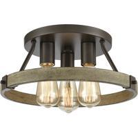 ELK 12311/3 Transitions 14 inch Oil Rubbed Bronze/Aspen Semi Flush Mount Ceiling Light