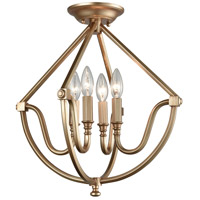 ELK 12841/4 Stanton 4 Light 16 inch Matte Gold Semi Flush Mount Ceiling Light