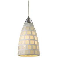 ELK Lighting Fused Glass Mosaic 1 Light Pendant in Satin Nickel 1321/1WHM