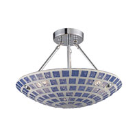 ELK Lighting Fused Glass Mosaic 3 Light Semi-Flush Mount in Satin Nickel 1322/3BLM