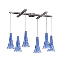 Tromba 6 Light 33 inch Satin Nickel Pendant Ceiling Light in Starburst Blue Glass