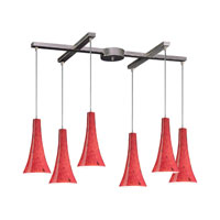 Tromba 6 Light 33 inch Satin Nickel Pendant Ceiling Light in Fire Red Glass