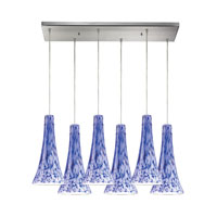 Tromba 6 Light 30 inch Satin Nickel Pendant Ceiling Light in Starburst Blue Glass