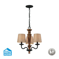 ELK Lighting HGTV HOME Early American 3 Light Chandelier in Vintage Rust with Recessed Conversion Kit 14132/3-LA