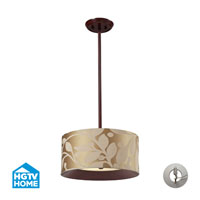 ELK Lighting HGTV HOME Nathan 3 Light Semi Flush in Dark Walnut with Recessed Conversion Kit 14150/3-LA