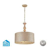 Elk Lighting HGTV Home Nathan 3 Light Pendant in Washed Pine 14161/3-LA