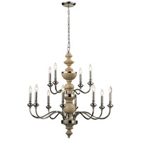 ELK Lighting Stratford 12 Light Chandelier in Polished Nickel 14183/8+4