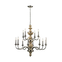 ELK 14183/8+4 Stratford 12 Light 37 inch Polished Nickel Chandelier Ceiling Light